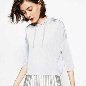 NEW Zara Grey Glossy Cropped Hoodie Sweatshirt